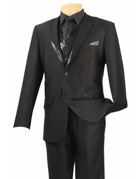 Mens Single Breasted Vest Black Two Button Suit Peak Lapel