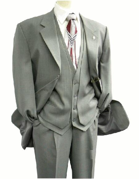 OS Falcone Men's Gray Three Button  Vest Fabric Suit