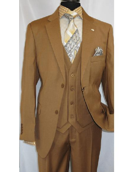 OS Falcone Mens Mustard Single Breasted Polyester ~ Rayon Notch Lapel Suit Two Button
