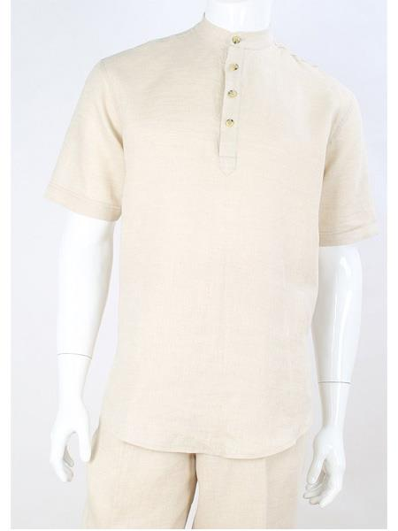 Men's Apollo King Four Button Short Sleeve Linen Banded Collar Cream Casual Shirt  Walking Suit With Pants