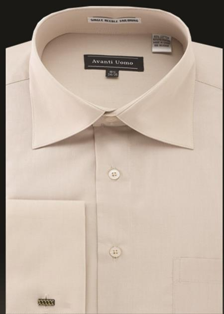 Men's Avanti Uomo French Cuff Shirt Beige