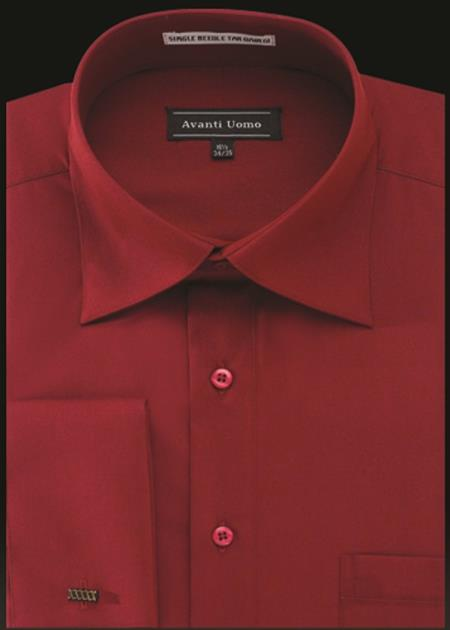 Men's Avanti Uomo French Cuff Shirt Crimson