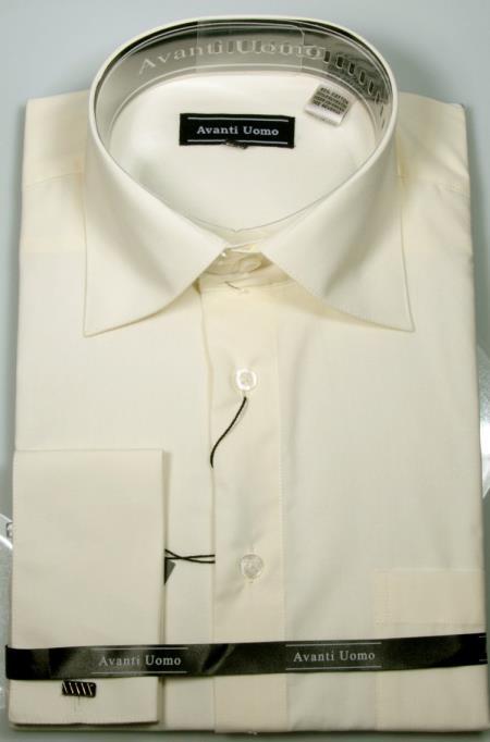 Men's Avanti Uomo French Cuff Shirt Ecru