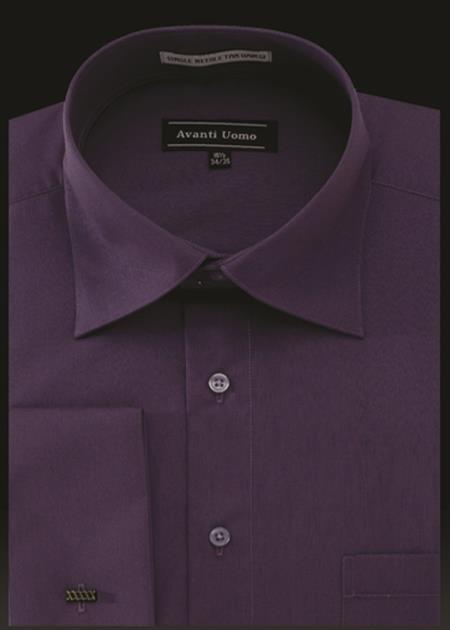 Men's Avanti Uomo French Cuff Shirt Prune