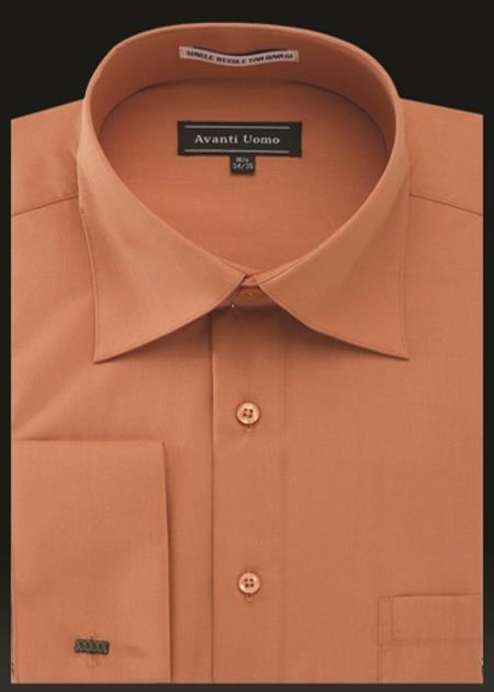 Men's Avanti Uomo French Cuff Shirt Orange