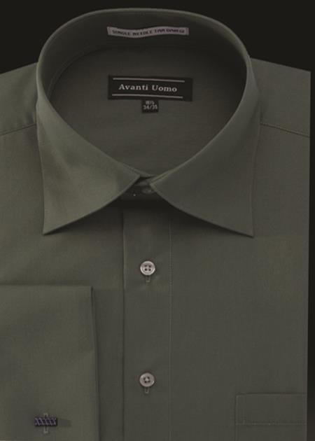 Men's Avanti Uomo French Cuff Shirt Green