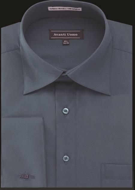 Men's Avanti Uomo French Cuff Shirt Steel Blue