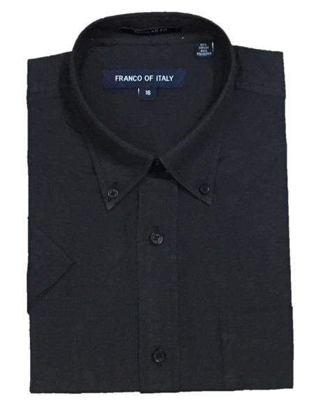 Oxford Black Short Sleeve Button Down