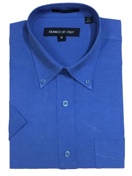 Short Sleeve Cotton Blend Oxford Blue