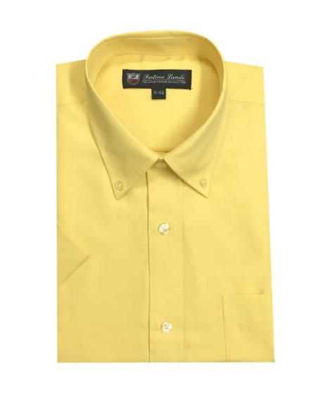 Oxford Yellow Button-Down Point Collar