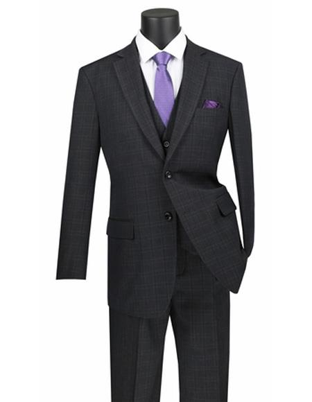 Three Piece Regular Fit Black Plaid ~ Window Pane 2 button Vested Suit