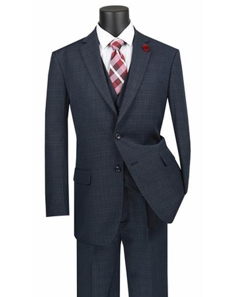 Blue Plaid Vested 3 Piece ~ Window Pane 2 button Regular Fit Poly/Rayon Suit
