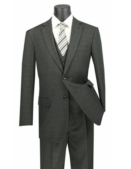 Two Button Poly/Rayon 3 Piece Regular Fit  Plaid ~ Window Pane Olive Vested Suit