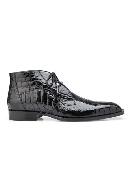 Mens Stefano Black Leather Lining Belvedere shoes