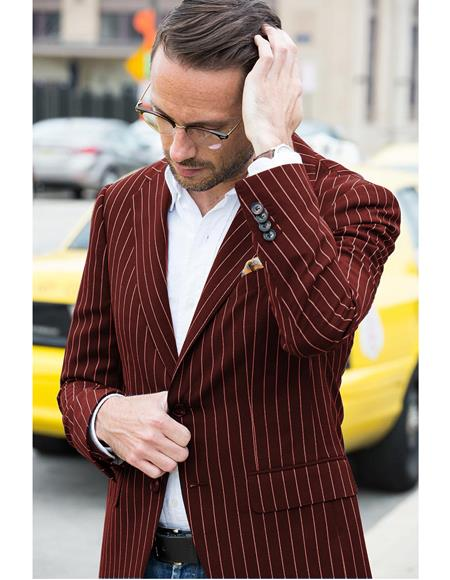Men's Burgundy Gangster  Sport Coat