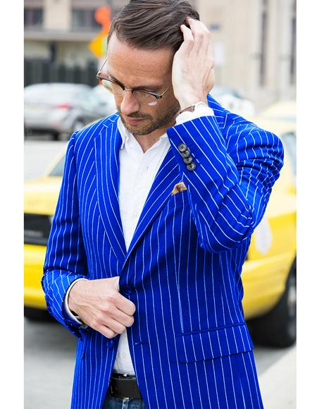 Men's Royal ~ Blue Bold Chalk Pinstripe Blazer