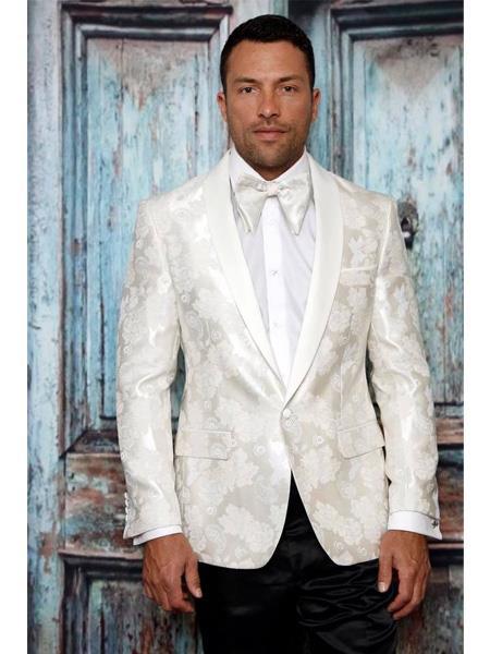 Men's  One Button Shawl Lapel Paisley Pattern White Tuxedo