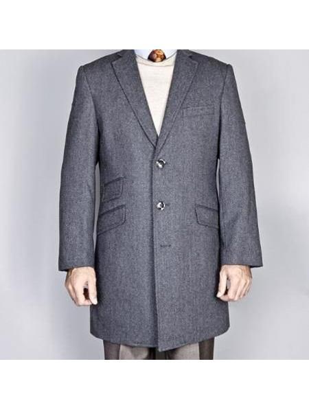 Mens Gray  Pure Wool Classic Herringbone Tweed Dress Wool Mens Carcoat - Car Coat Mid Length Three quarter length coat