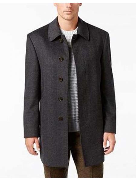 Mens Dress Coat Five  Button Single Breasted Herringbone Wool Blend  Charcoal Overcoat