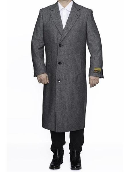 The Platinum Tailor Mens Grey Double Breasted Herringbone Wool Overcoat Long Coat Winter