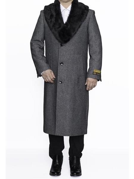 Mens Dress Coat Single Breasted Removable Fur Collar Full Length Wool Herringbone Grey  Top Coat ~ Overcoat