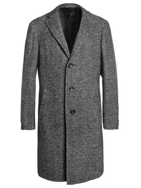 Men's Vintage Style Coats and Jackets Mens Notch lapel Full Length Tweed Herringbone Gray Overcoat $220.00 AT vintagedancer.com