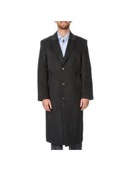 Mens Dress Coat Three Button Notch Lapel Tweed Herringbone  Charcoal Full-Length Coat