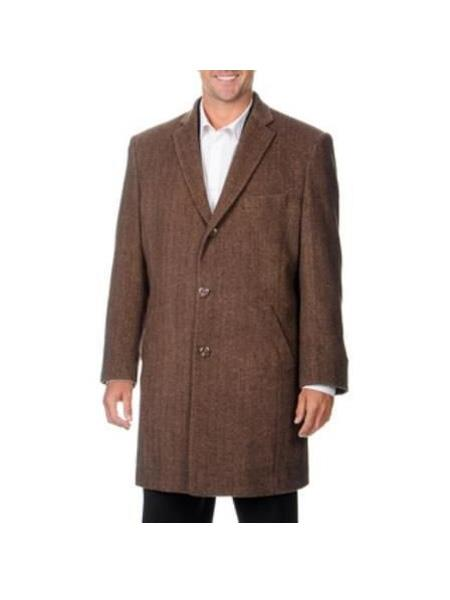 Three Quarters Length Mens  Dress Coat Long Jacket Single Breasted Notch Lapel Herringbone Wool Blend Brown Mens Carcoat ~ Peacoat