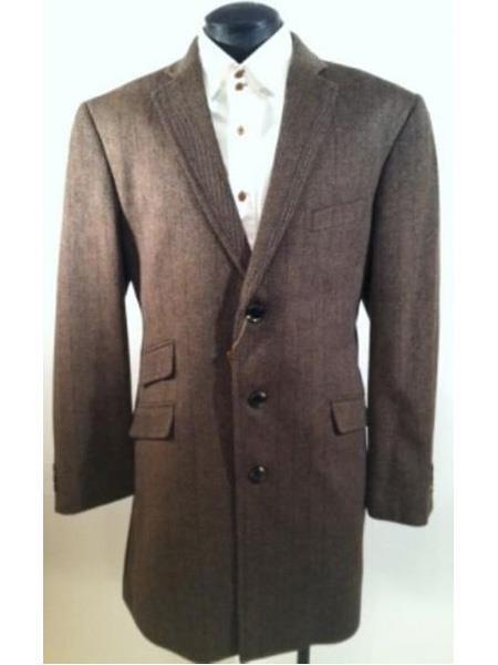 Mens Dress Coat  Three Button Herringbone Tweed Wool Blend  Taupe Mens Car Coat