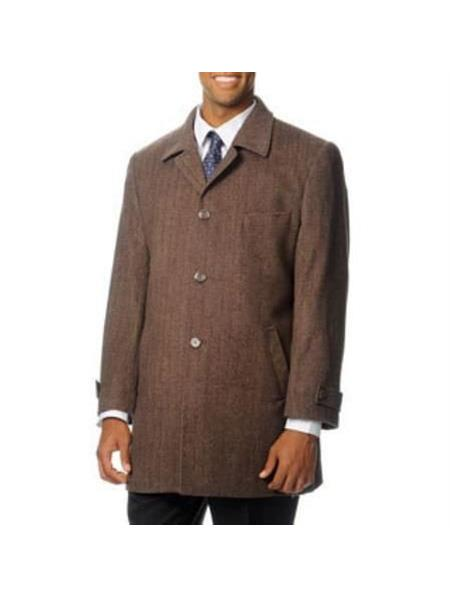 Mens Brown Notch Lapel wo Slit Side Pockets Coat