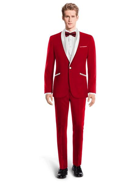 Red and White Lapel Tuxedo Suit Shawl Collar With Vest Wedding / Prom / Stage
