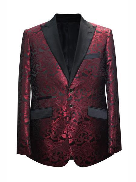 Mens Mroon ~ Wine Paisley Pattern Blazer