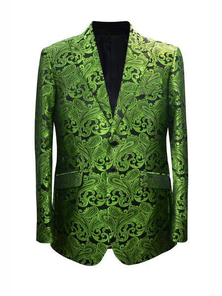 Alberto Nardoni Trendy Unique Prom Tuxedo Blazers Sparkly Floral Trendy Unique Prom Blazers Sparkly Floral ~ Flower Two Toned Available Big Sizes Lime Green + Matching Bow Tie