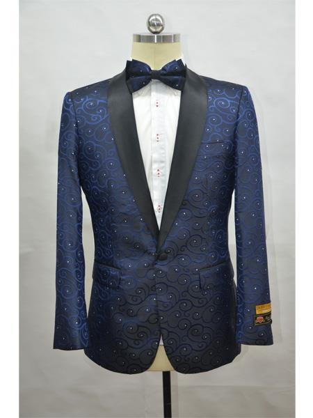 Navy Blue And Black Lapel Two Toned Paisley Floral Blazer Tuxedo Dinner Jacket Fashion Sport Coat