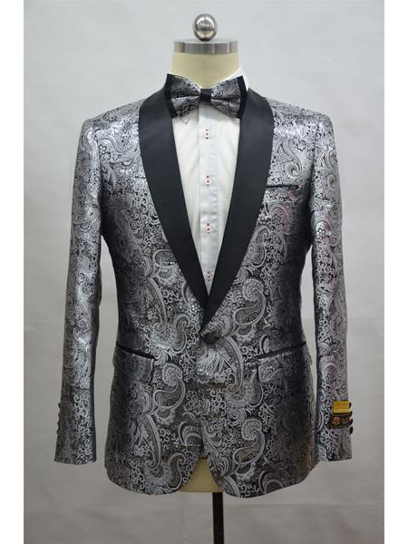 luxury fashion preview of special discount of Silver And Black Two Toned Paisley Floral Blazer Tuxedo Dinner Jacket  Fashion Sport Coat