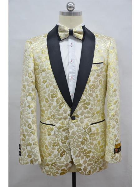 White & Gold Champagne Two Toned Paisley Floral Blazer Tuxedo Dinner Jacket Fashion Sport Coat