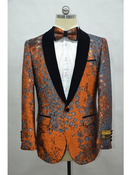 Rust And Black Two Toned Paisley Floral Blazer Tuxedo Dinner Jacket Fashion Sport Coat