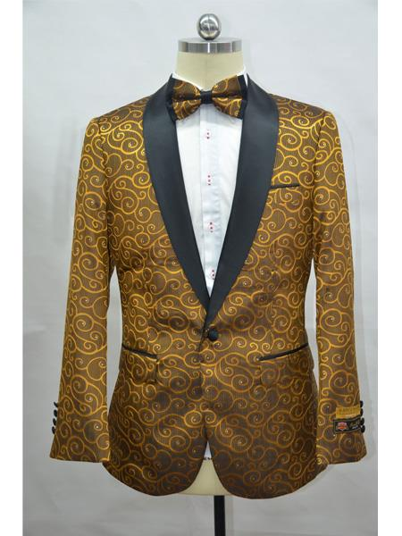 Gold And Black Two Toned Paisley Floral Blazer Tuxedo Dinner Jacket Fashion Sport Coat + Matching Bow Tie
