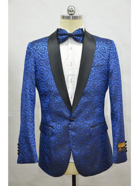 Royal And Black Two Toned Paisley Floral Blazer Tuxedo Dinner Jacket Fashion Sport Coat + Matching Bow Tie