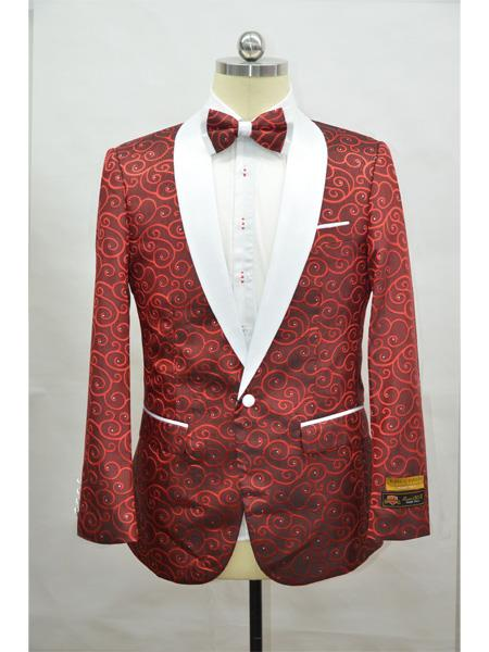 Red And White Two Toned Paisley Floral Cheap Priced Blazer Jacket For Men Tuxedo Dinner Jacket Fashion Sport Coat + Matching Bow Tie