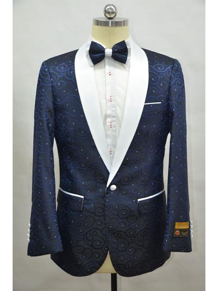 Navy Blue And White Two Toned Paisley Floral Blazer Tuxedo Dinner Jacket Fashion Sport Coat + Matching Bow Tie