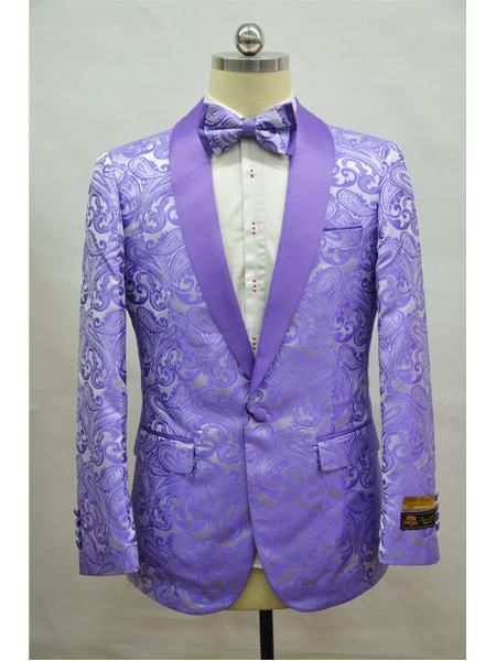 Lilac ~ Lavender  Light Purple Two Toned Paisley Floral Blazer Tuxedo Dinner Jacket Fashion Sport Coat+ Matching Bow Tie