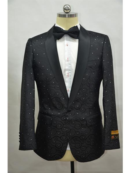 Black Two Toned Paisley Floral Blazer Tuxedo Dinner Jacket Fashion Sport Coat + Matching Bow Tie