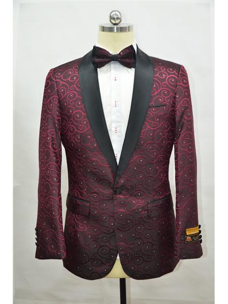 Burgundy ~ Maroon And Black  Two Toned Paisley Floral Blazer Tuxedo Dinner Jacket Fashion Sport Coat + Matching ow Tie
