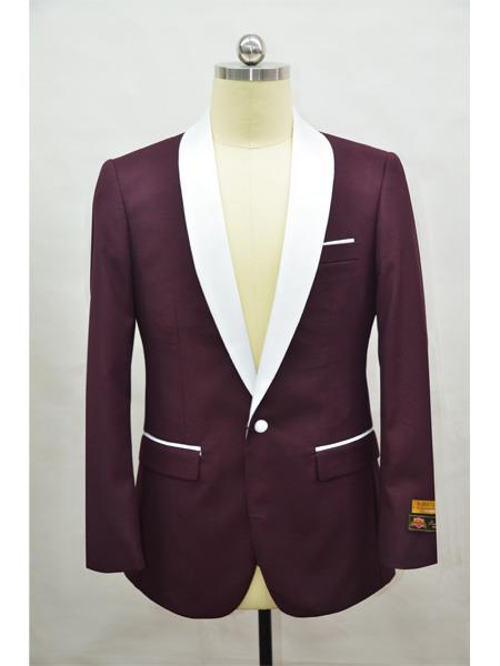 Men's Blazer Burgundy ~ White Tuxedo Dinner Jacket and Blazer Two Toned