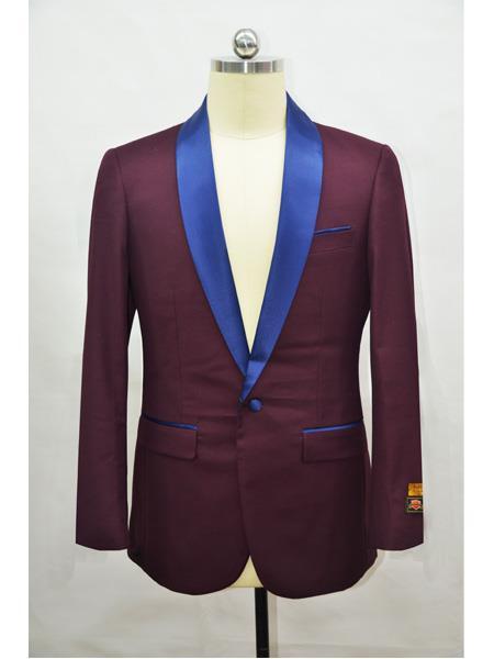 Men's Single Breasted Shawl Lapel Burgundy Polka Dot Pattern Vest Tuxedo