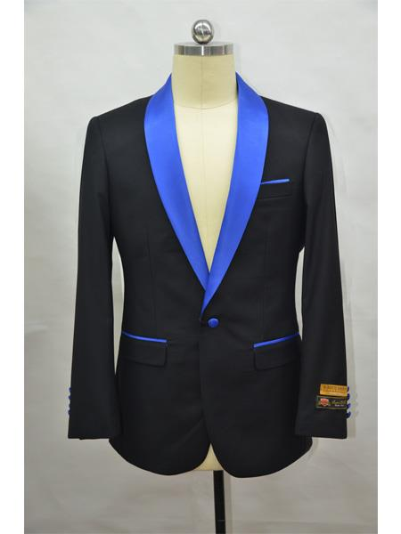 Men's Blazer  Black ~ RoyalBlue Tuxedo Dinner Jacket and Blazer Two Toned