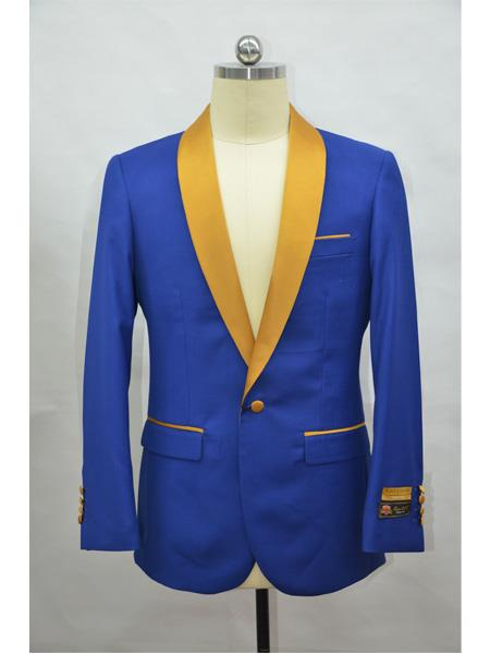 Mens Blazer  RoyalBlue ~ Gold Tuxedo Dinner Jacket and Blazer Two Toned
