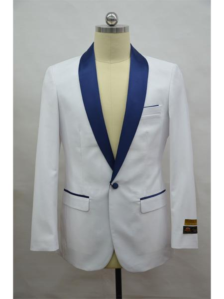 Mens Blazer  White ~ NavyBlue Tuxedo Dinner Jacket and Blazer Two Toned