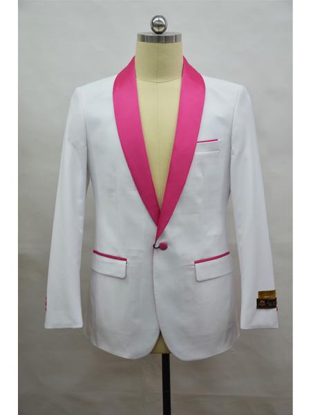 Mens Blazer  White ~ Fuschia Tuxedo Dinner Jacket and Blazer Two Toned